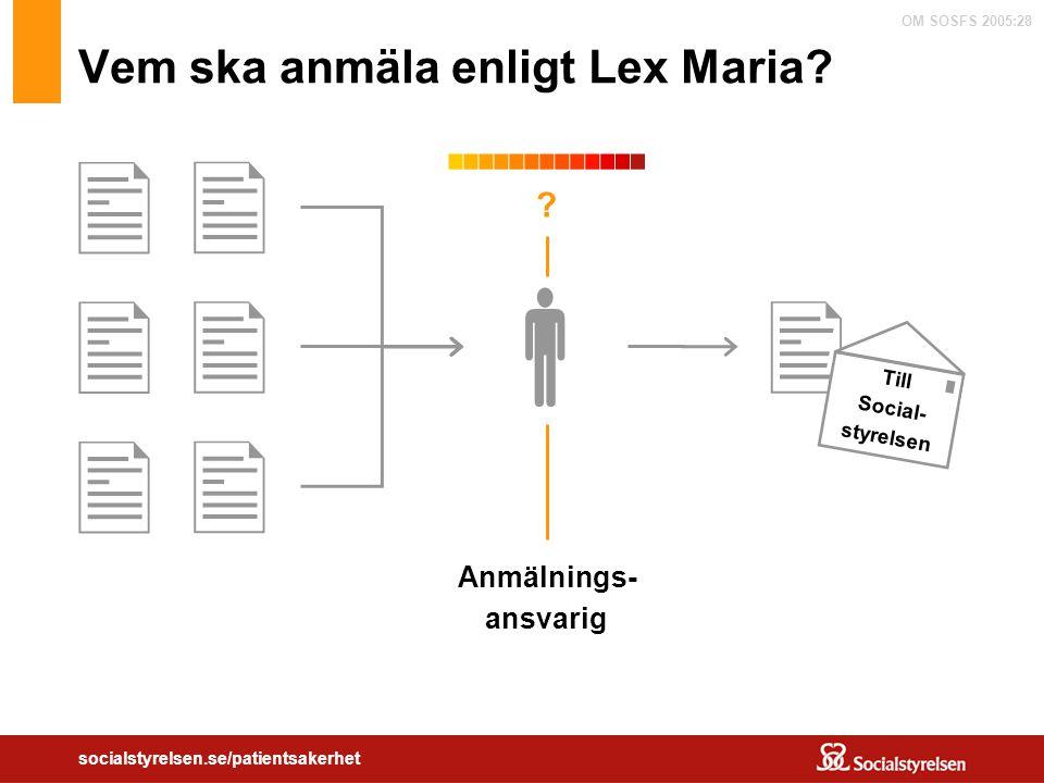 Vem ska anmäla enligt Lex Maria