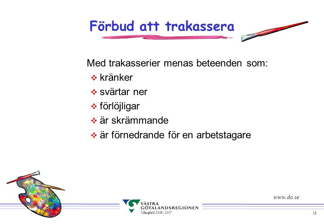Förbud att trakassera Med trakasserier menas beteenden som: kränker