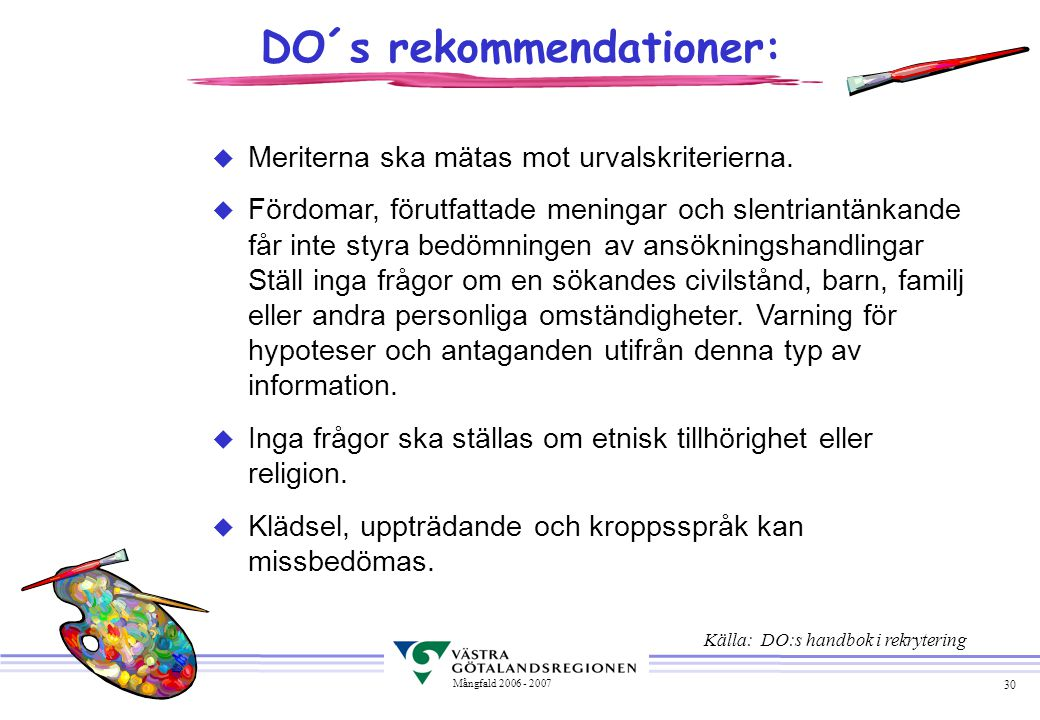 DO´s rekommendationer: