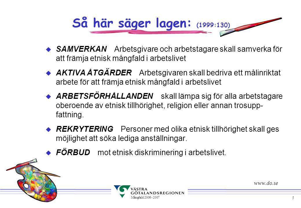 Så här säger lagen: (1999:130) SAMVERKAN Arbetsgivare och arbetstagare skall samverka för att främja etnisk mångfald i arbetslivet.