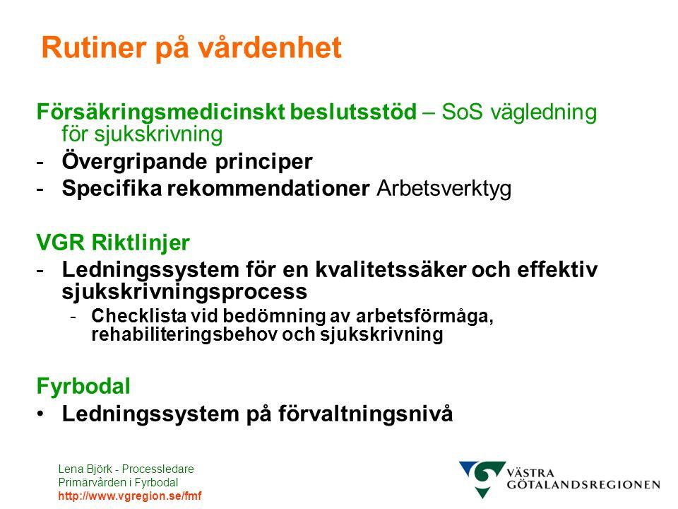 Rutiner på vårdenhet Försäkringsmedicinskt beslutsstöd – SoS vägledning för sjukskrivning. Övergripande principer.