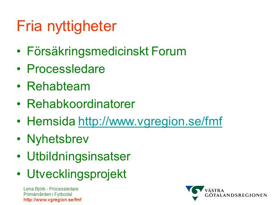 Fria nyttigheter Försäkringsmedicinskt Forum Processledare Rehabteam