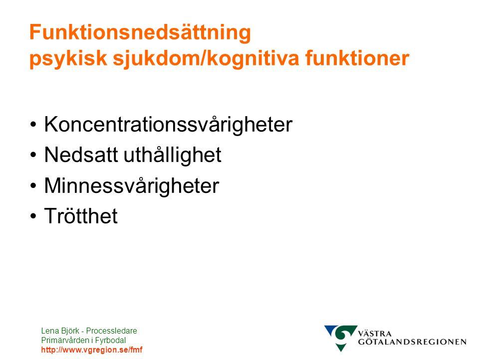 Funktionsnedsättning psykisk sjukdom/kognitiva funktioner