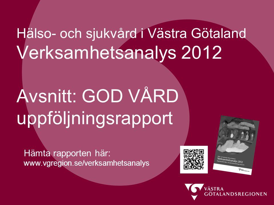 Hälso- och sjukvård i Västra Götaland Verksamhetsanalys 2012 Avsnitt: GOD VÅRD uppföljningsrapport