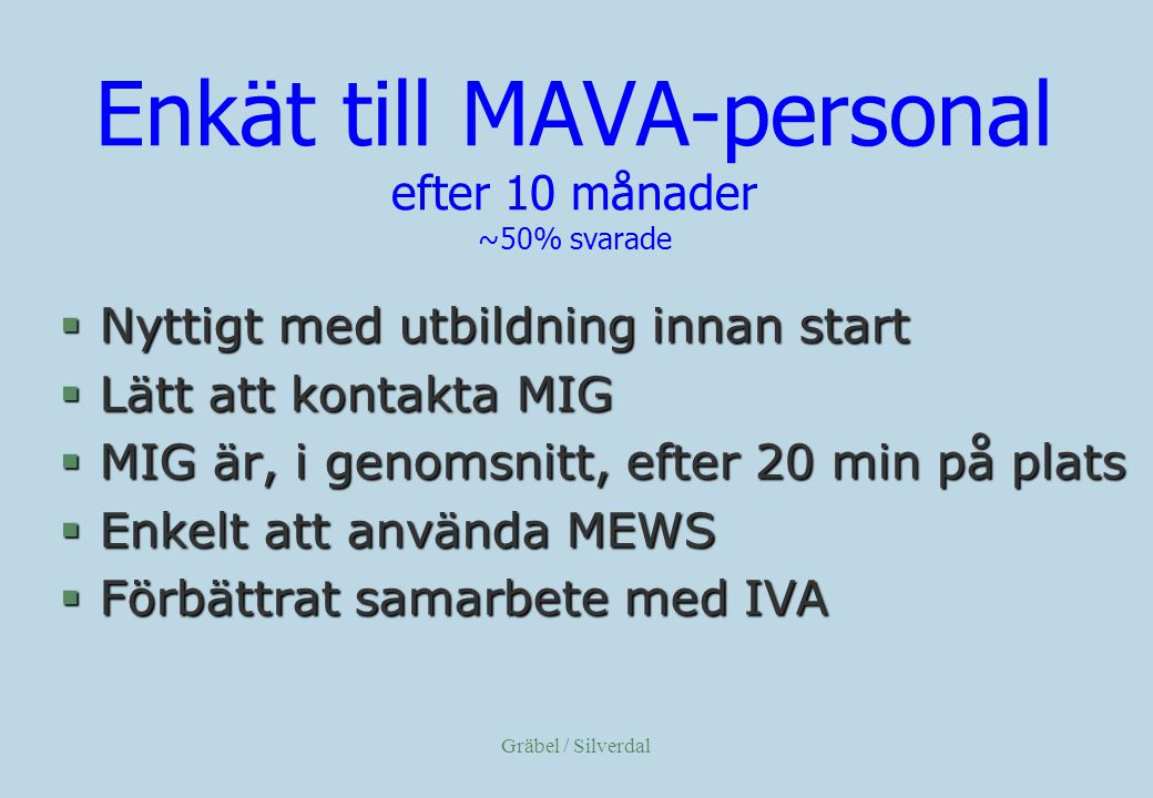 Enkät till MAVA-personal efter 10 månader ~50% svarade