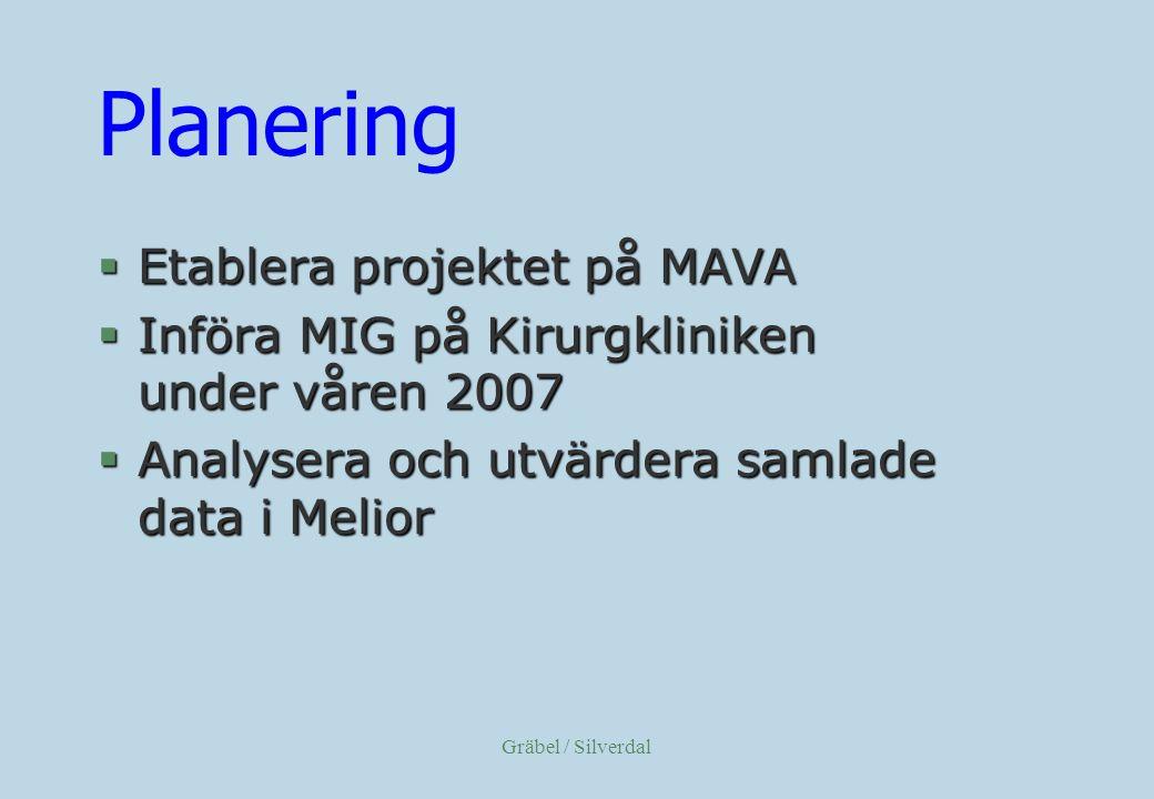 Planering Etablera projektet på MAVA