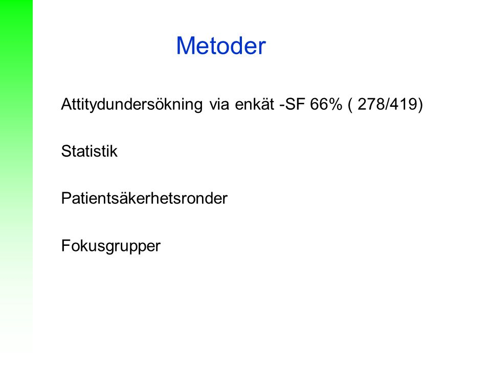 Metoder Attitydundersökning via enkät -SF 66% ( 278/419) Statistik