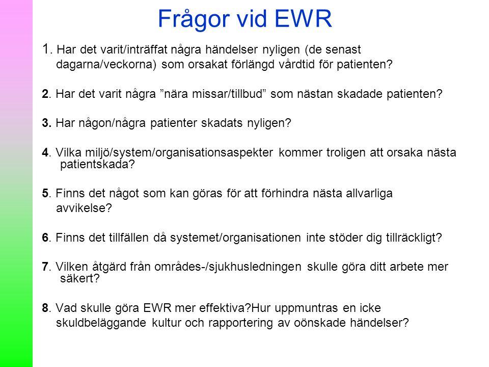 Frågor vid EWR 1. Har det varit/inträffat några händelser nyligen (de senast. dagarna/veckorna) som orsakat förlängd vårdtid för patienten