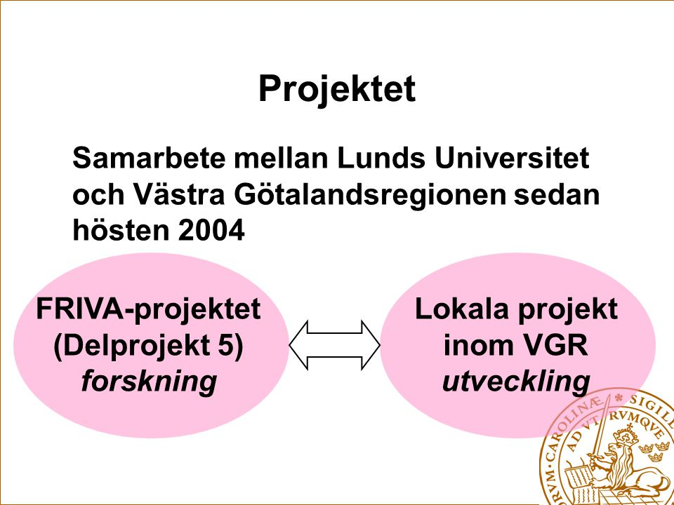 Projektet Samarbete mellan Lunds Universitet och Västra Götalandsregionen sedan hösten 2004. FRIVA-projektet.