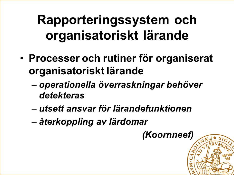 Rapporteringssystem och organisatoriskt lärande