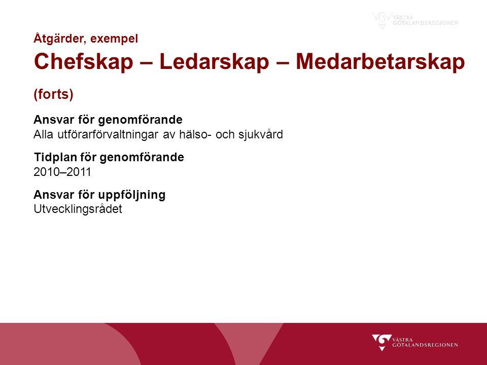 (forts) Åtgärder, exempel Chefskap – Ledarskap – Medarbetarskap