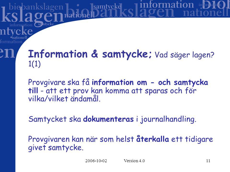Information & samtycke; Vad säger lagen 1(1)