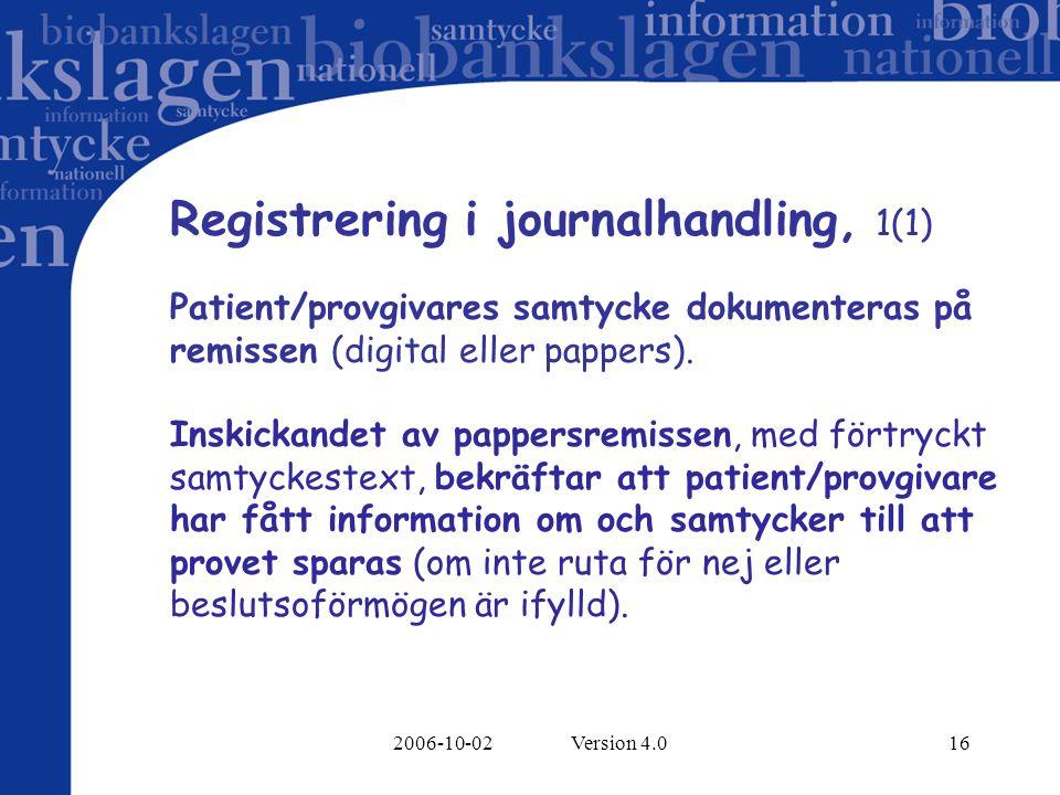 Registrering i journalhandling, 1(1)