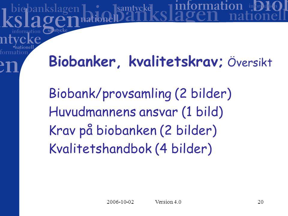 Biobanker, kvalitetskrav; Översikt