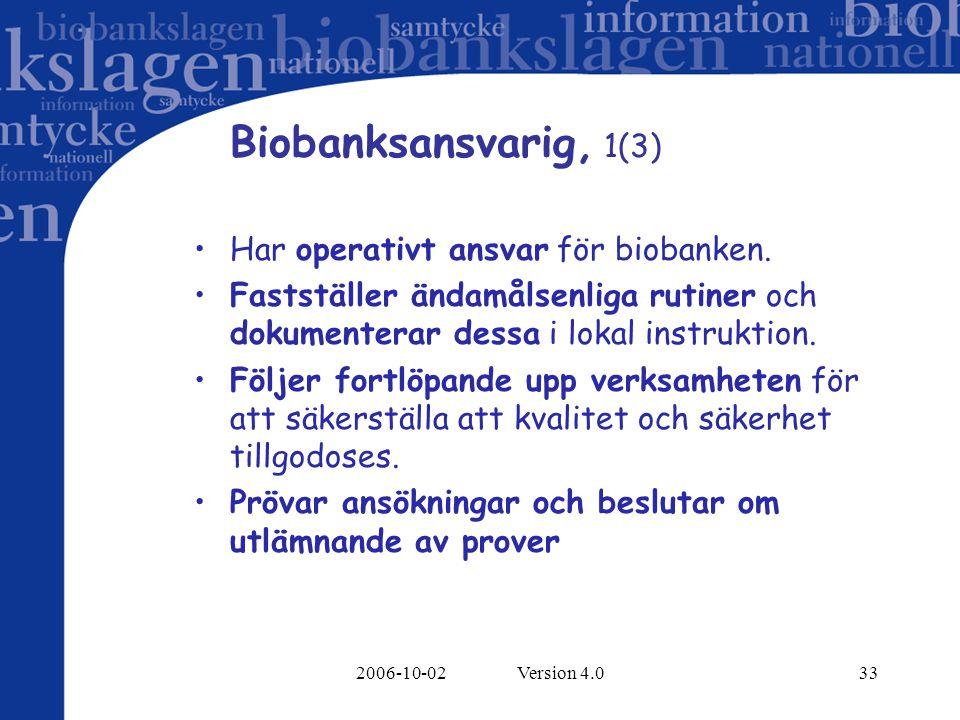Biobanksansvarig, 1(3) Har operativt ansvar för biobanken.