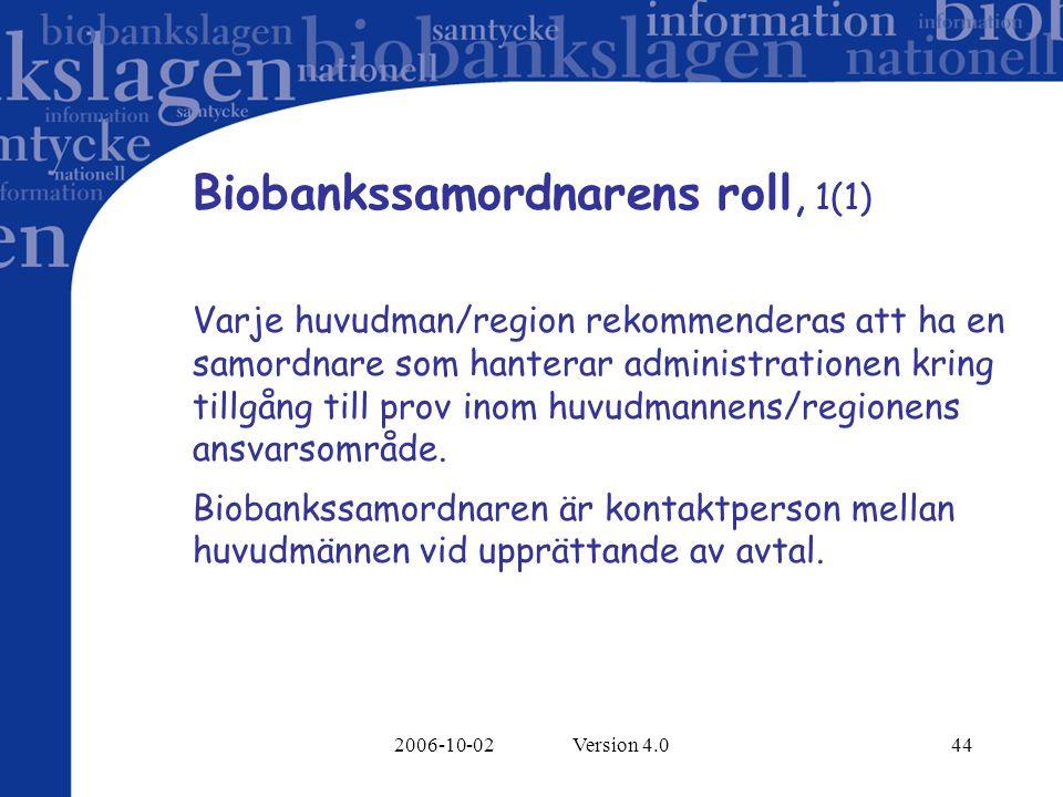 Biobankssamordnarens roll, 1(1)