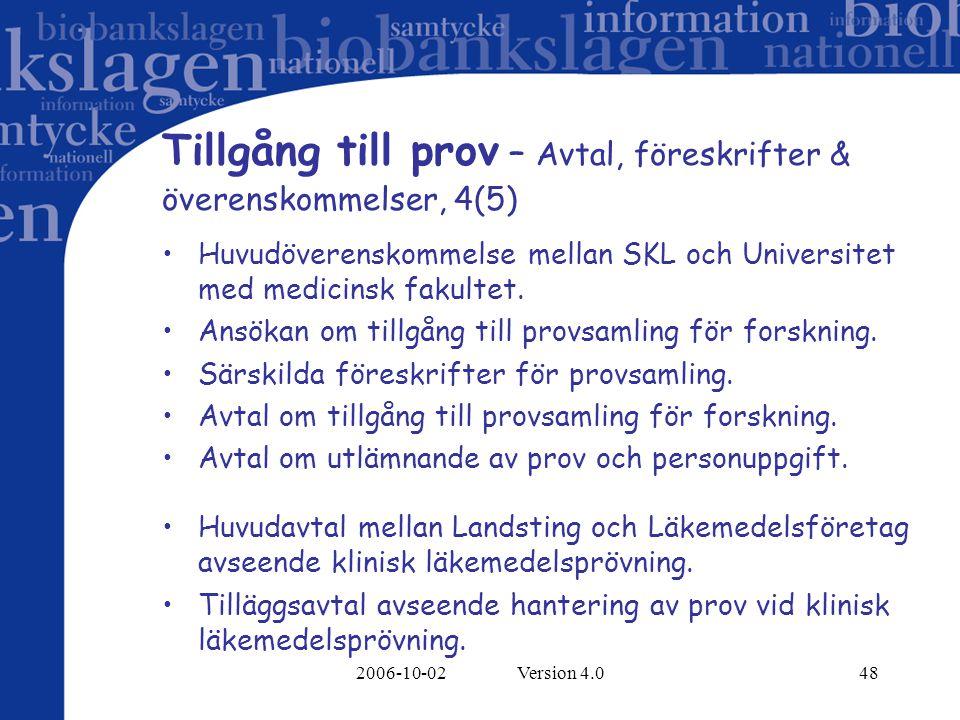 Tillgång till prov – Avtal, föreskrifter &