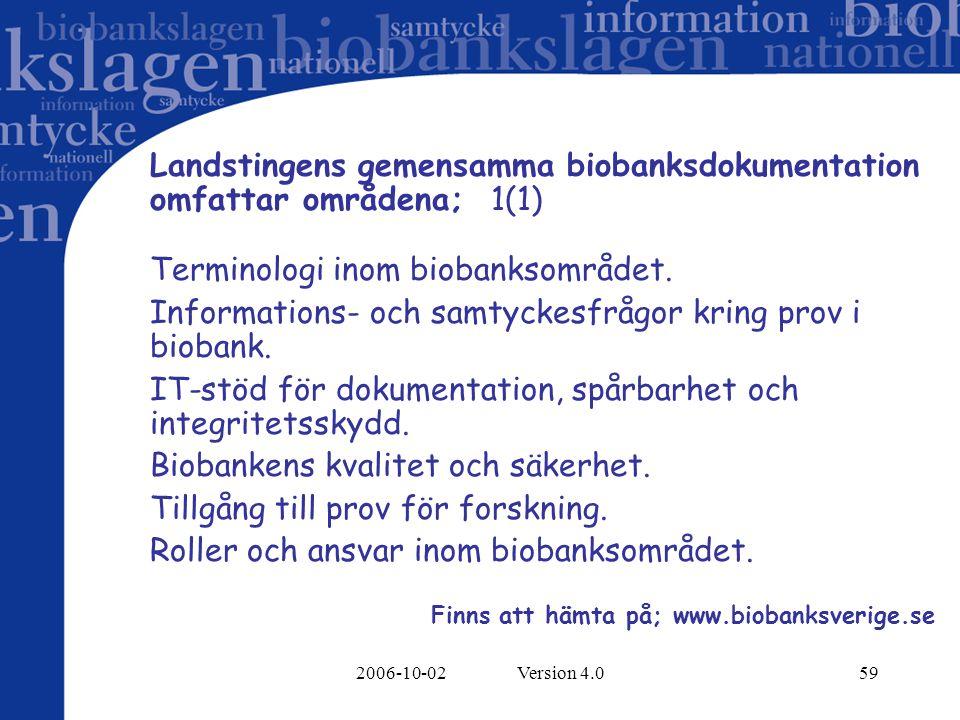 Landstingens gemensamma biobanksdokumentation omfattar områdena; 1(1)