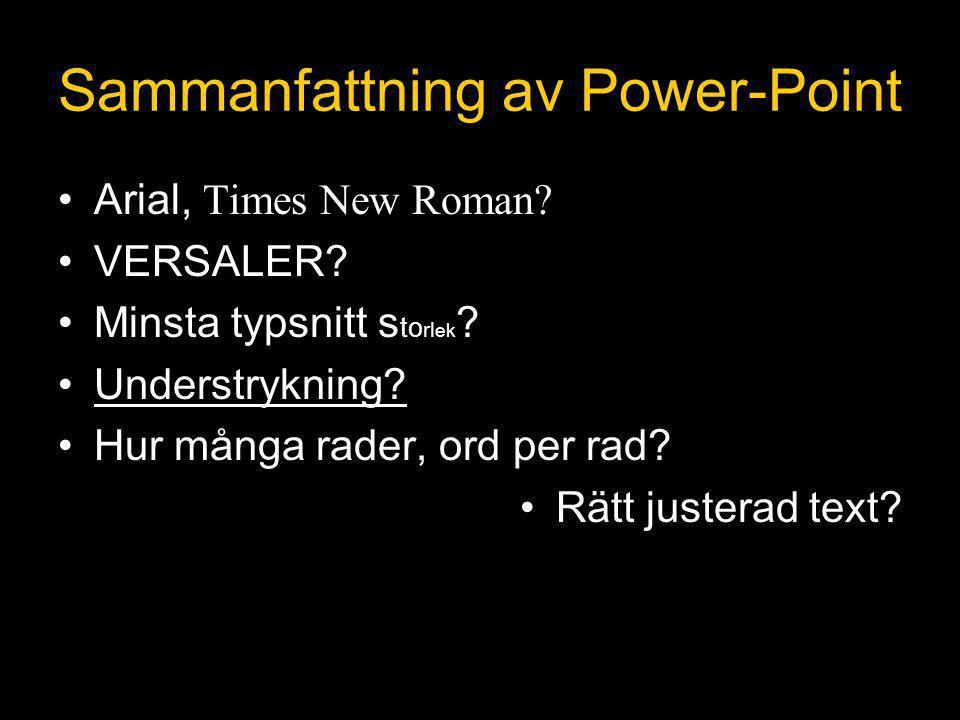 Sammanfattning av Power-Point