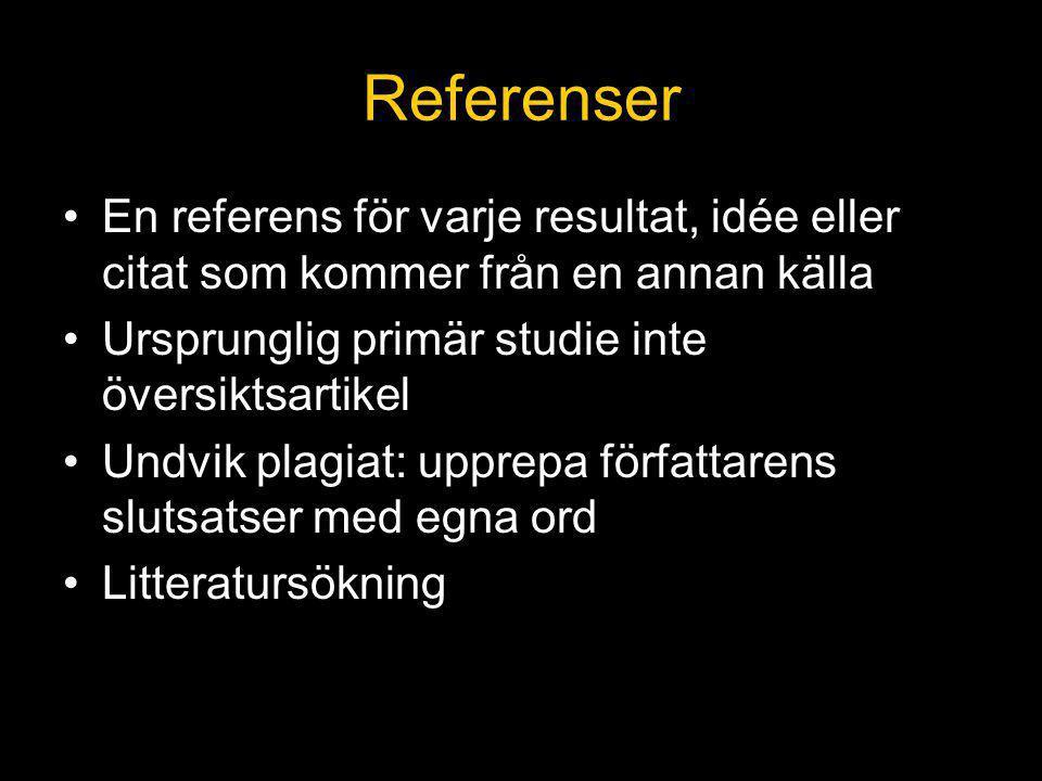 Referenser En referens för varje resultat, idée eller citat som kommer från en annan källa. Ursprunglig primär studie inte översiktsartikel.