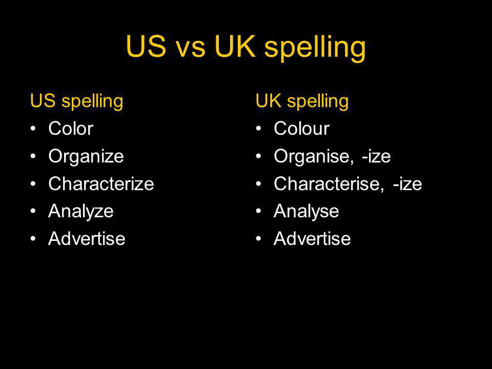 US vs UK spelling US spelling Color Organize Characterize Analyze