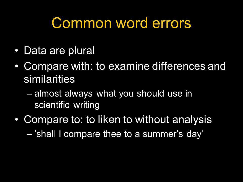 Common word errors Data are plural