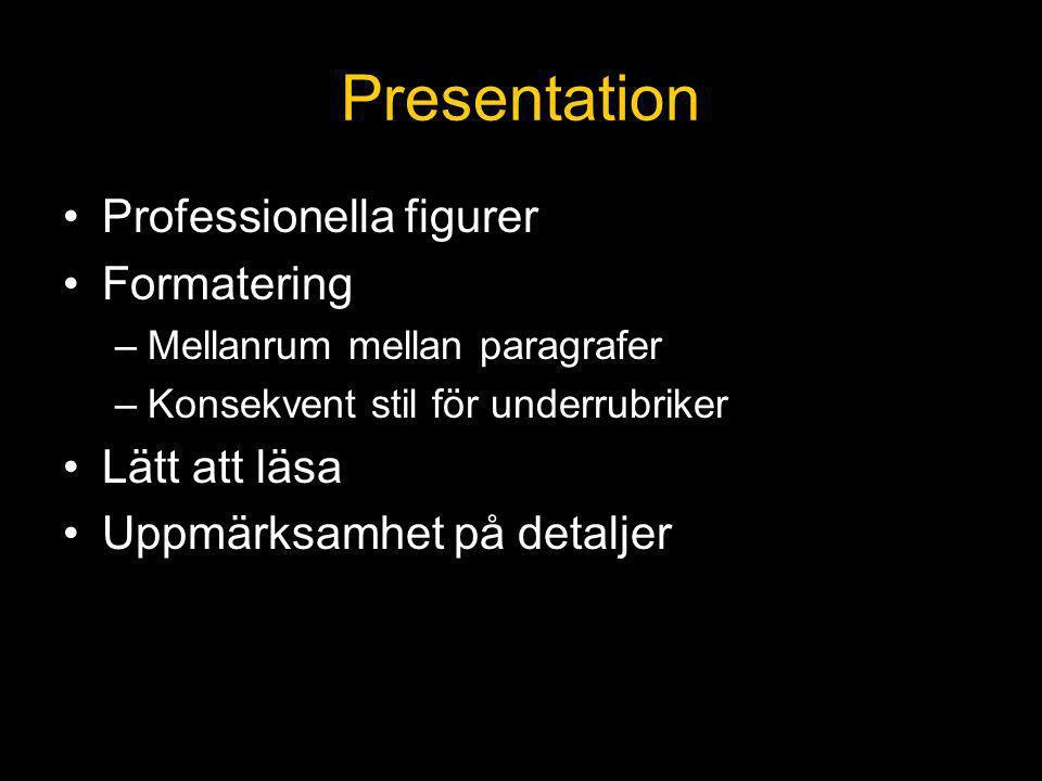 Presentation Professionella figurer Formatering Lätt att läsa