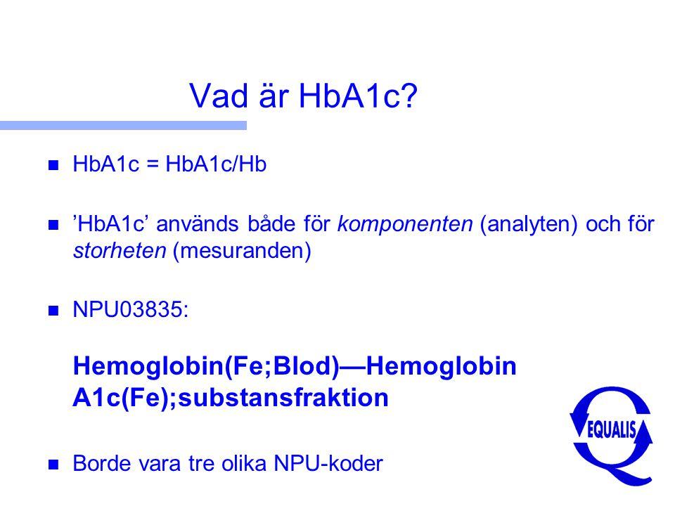 Vad är HbA1c HbA1c = HbA1c/Hb