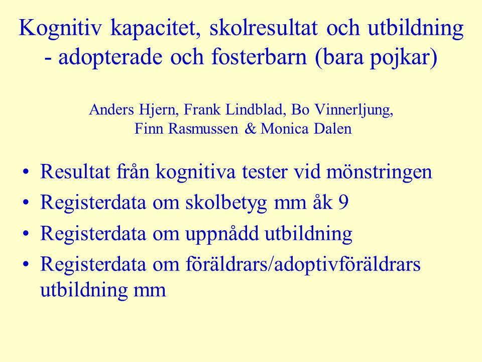 Kognitiv kapacitet, skolresultat och utbildning - adopterade och fosterbarn (bara pojkar) Anders Hjern, Frank Lindblad, Bo Vinnerljung, Finn Rasmussen & Monica Dalen