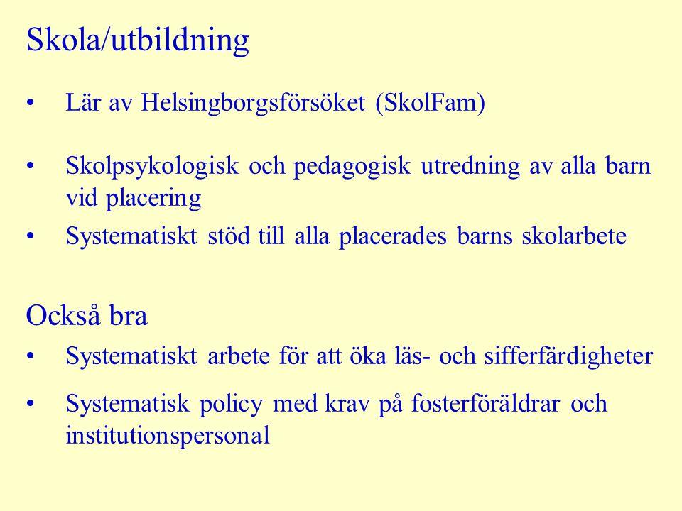 Skola/utbildning Också bra Lär av Helsingborgsförsöket (SkolFam)