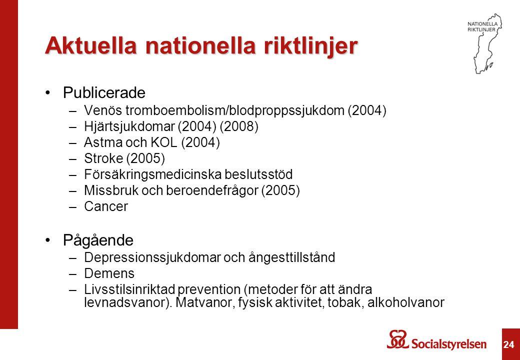 Aktuella nationella riktlinjer