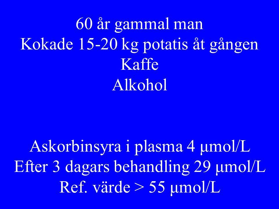 60 år gammal man Kokade 15-20 kg potatis åt gången Kaffe Alkohol Askorbinsyra i plasma 4 μmol/L Efter 3 dagars behandling 29 μmol/L Ref.
