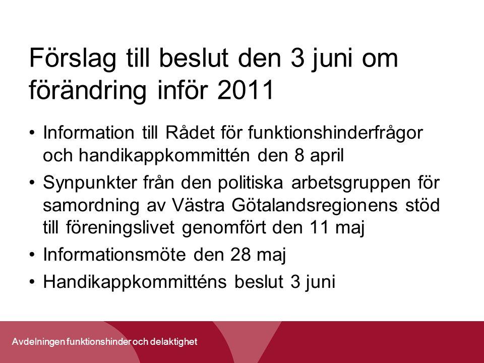 Förslag till beslut den 3 juni om förändring inför 2011