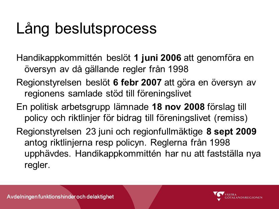 Lång beslutsprocess Handikappkommittén beslöt 1 juni 2006 att genomföra en översyn av då gällande regler från 1998.