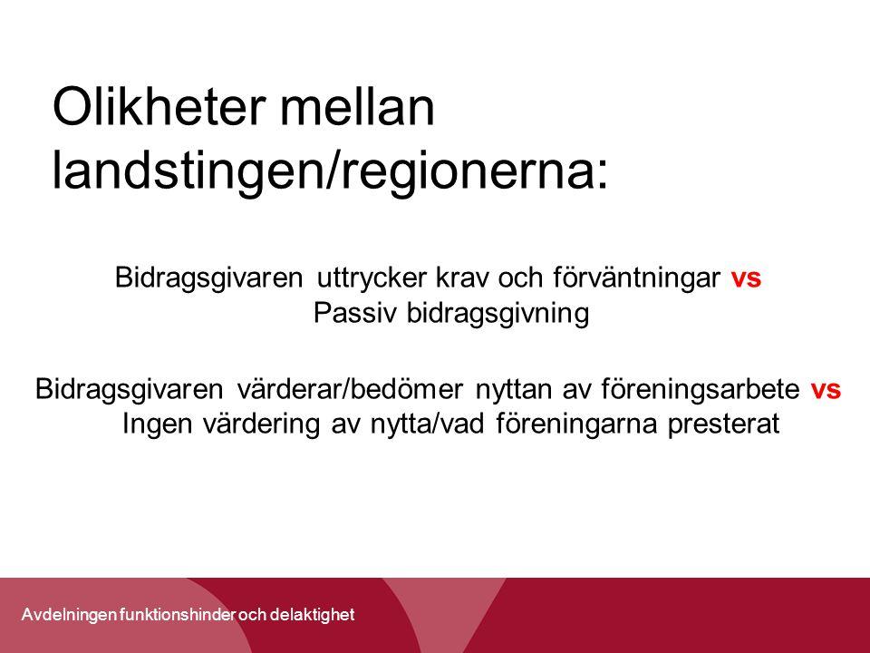 Olikheter mellan landstingen/regionerna: