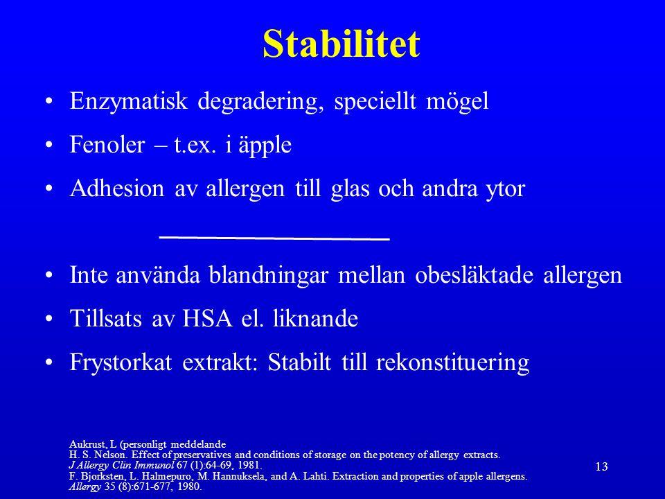 Stabilitet Enzymatisk degradering, speciellt mögel