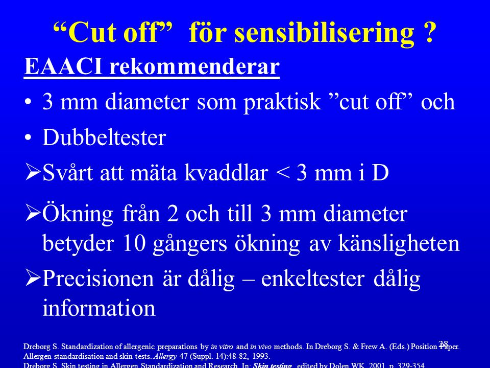 Cut off för sensibilisering