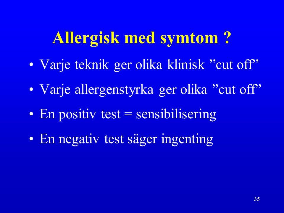 Allergisk med symtom Varje teknik ger olika klinisk cut off