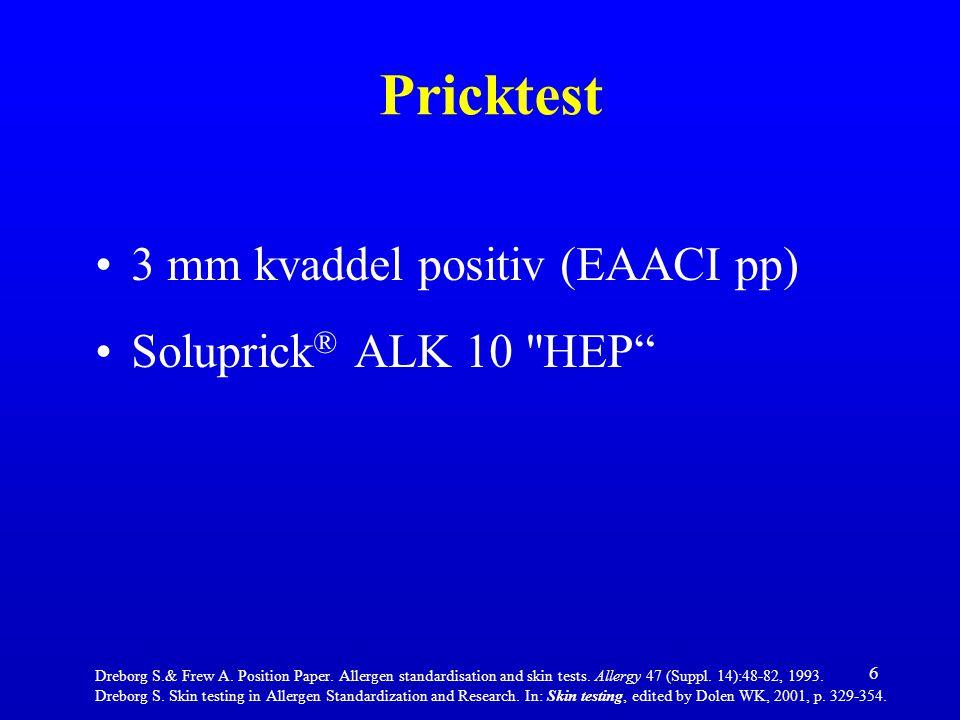 Pricktest 3 mm kvaddel positiv (EAACI pp) Soluprick® ALK 10 HEP