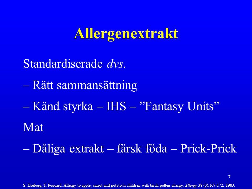 Allergenextrakt Standardiserade dvs. Rätt sammansättning