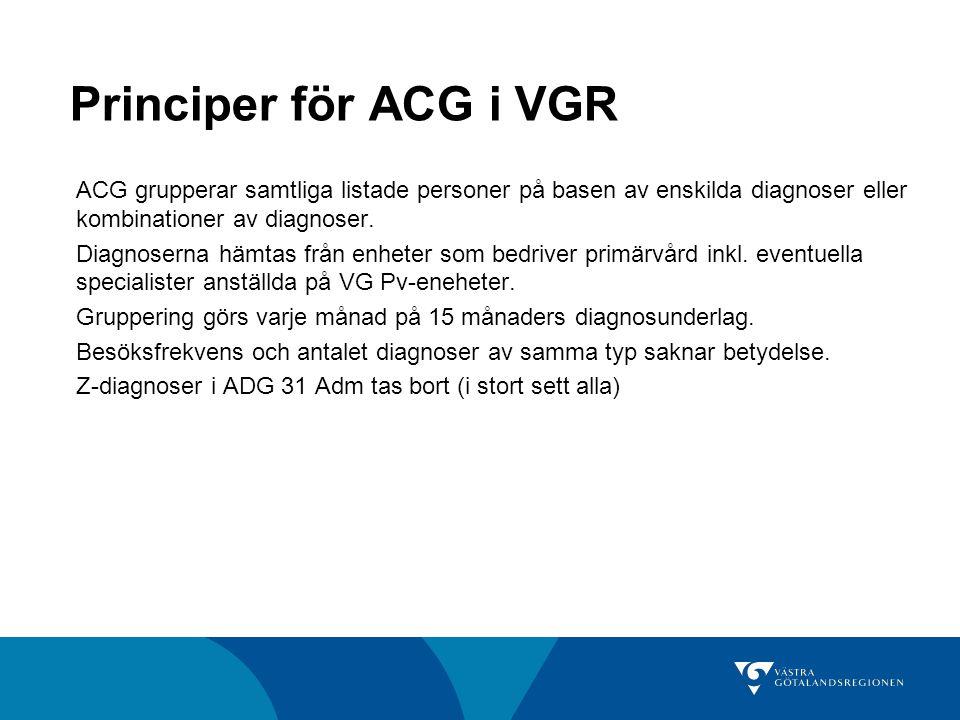 Principer för ACG i VGR ACG grupperar samtliga listade personer på basen av enskilda diagnoser eller kombinationer av diagnoser.