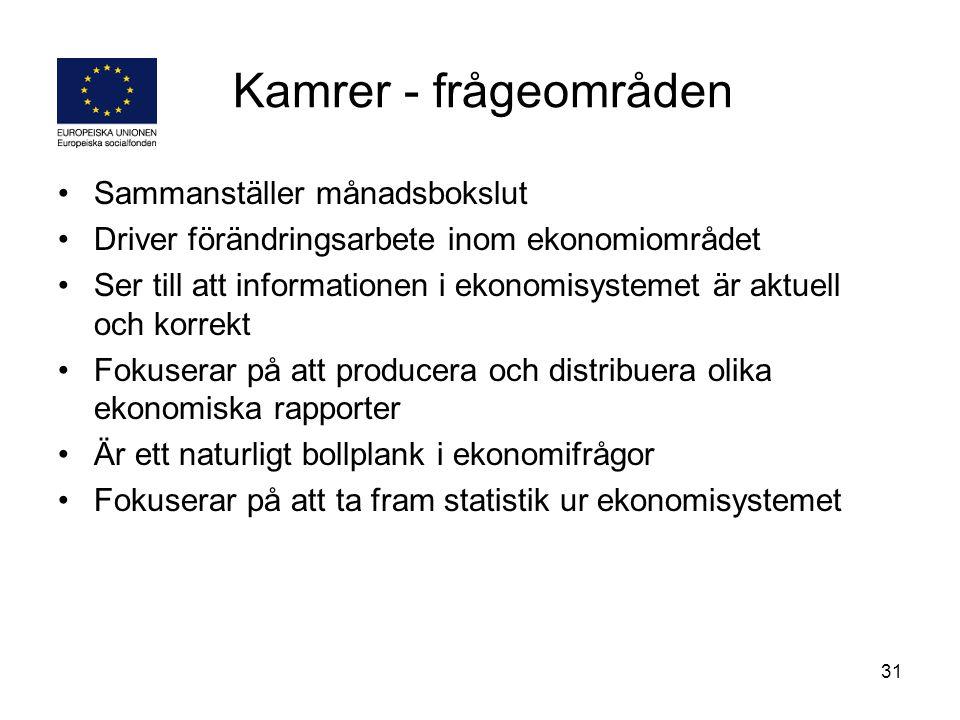 Kamrer - frågeområden Sammanställer månadsbokslut