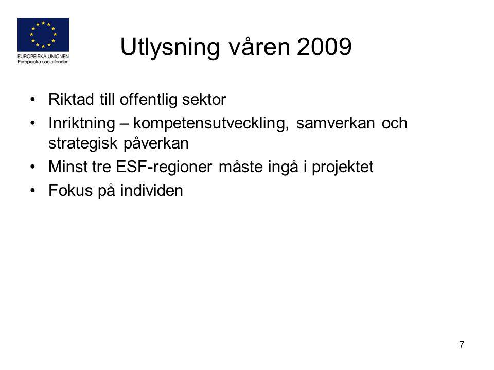 Utlysning våren 2009 Riktad till offentlig sektor