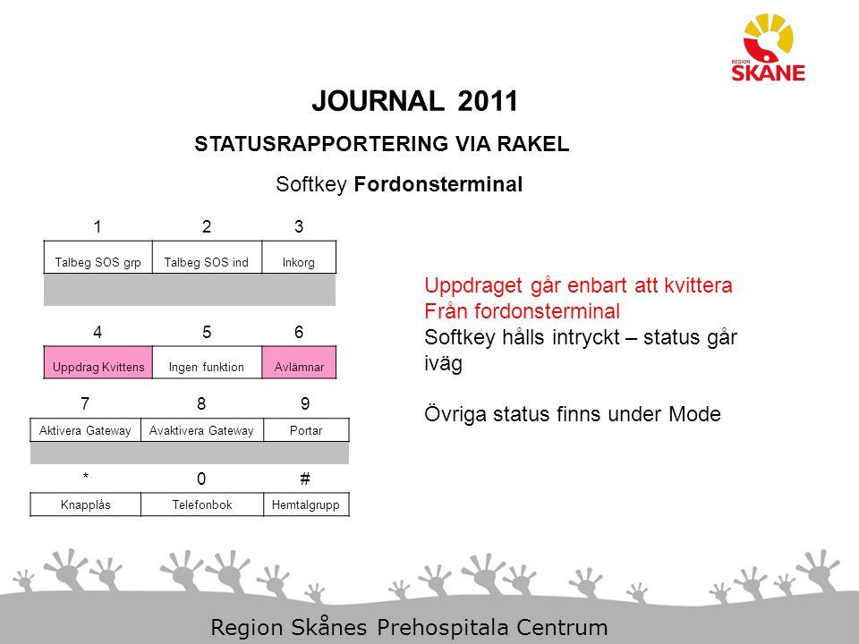 JOURNAL 2011 STATUSRAPPORTERING VIA RAKEL Softkey Fordonsterminal