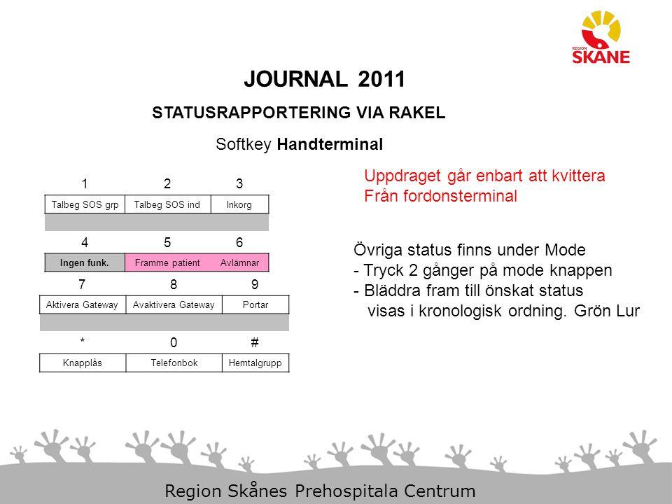 JOURNAL 2011 STATUSRAPPORTERING VIA RAKEL Softkey Handterminal