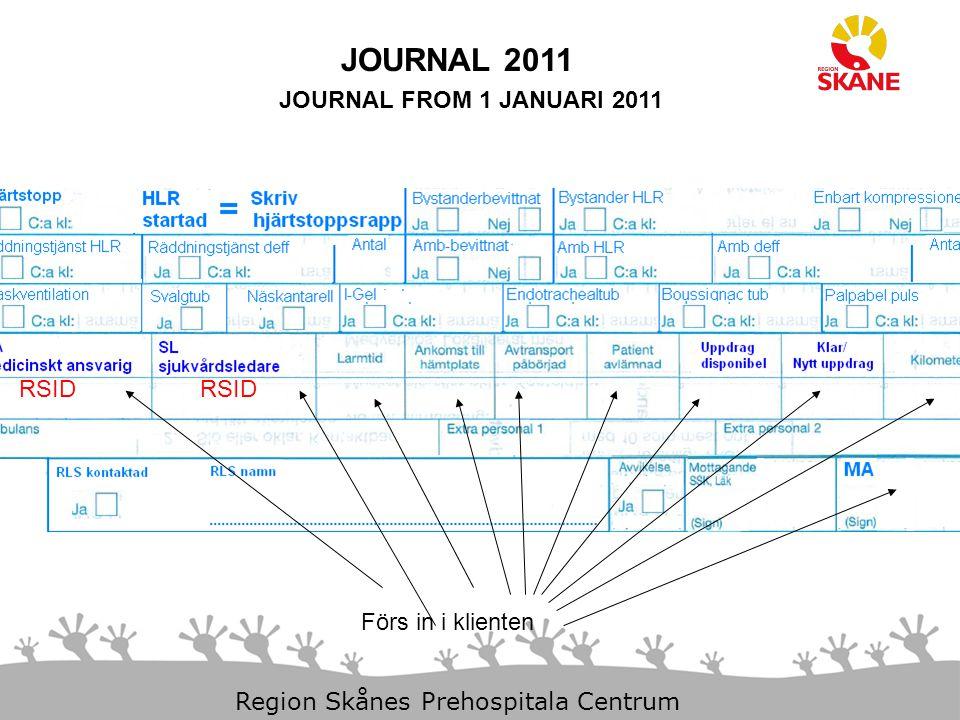 JOURNAL 2011 JOURNAL FROM 1 JANUARI 2011 RSID RSID Förs in i klienten
