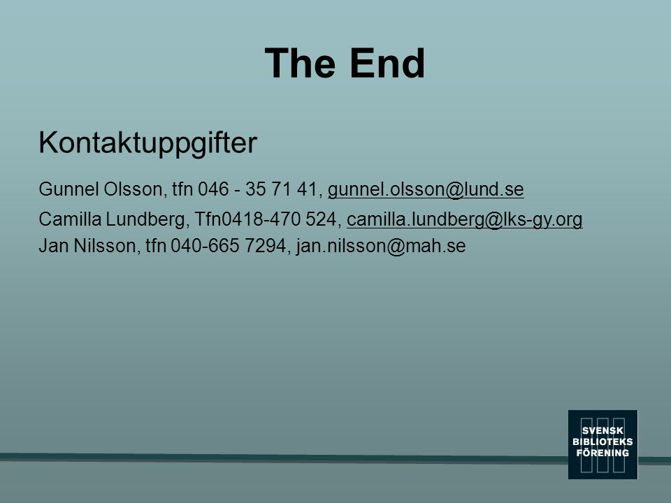 The End Kontaktuppgifter
