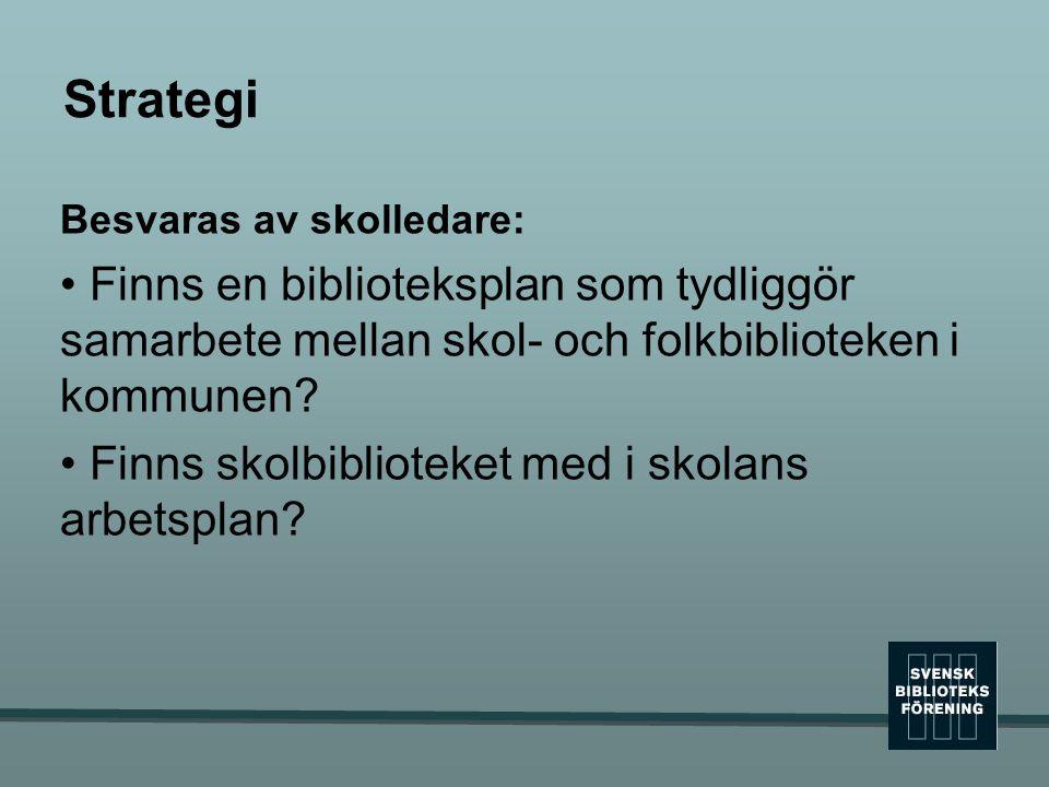 Strategi Besvaras av skolledare: • Finns en biblioteksplan som tydliggör samarbete mellan skol- och folkbiblioteken i kommunen