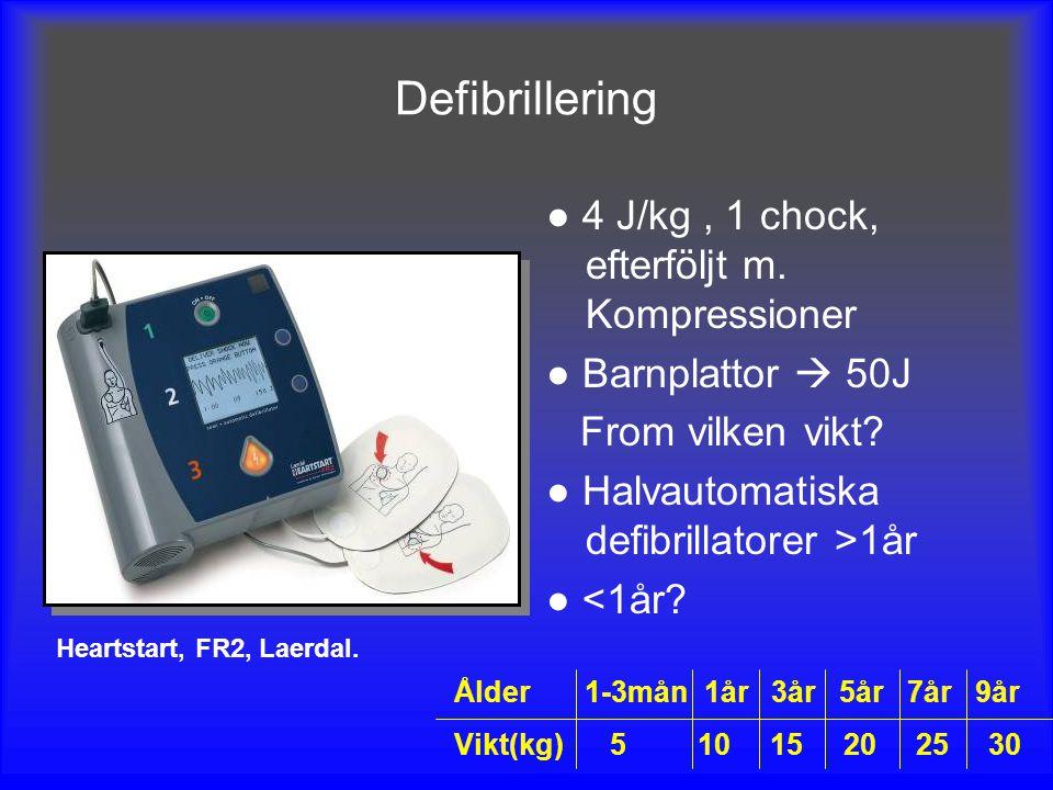 Defibrillering ● 4 J/kg , 1 chock, efterföljt m. Kompressioner