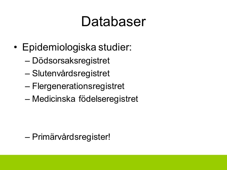 Databaser Epidemiologiska studier: Dödsorsaksregistret